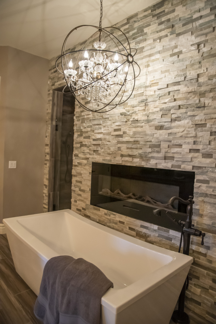 Master Bath Fireplace and Tub